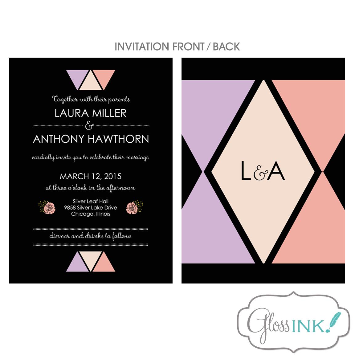 4 Piece Wedding Invitation Suite Modern Geometric Triangle Doubled