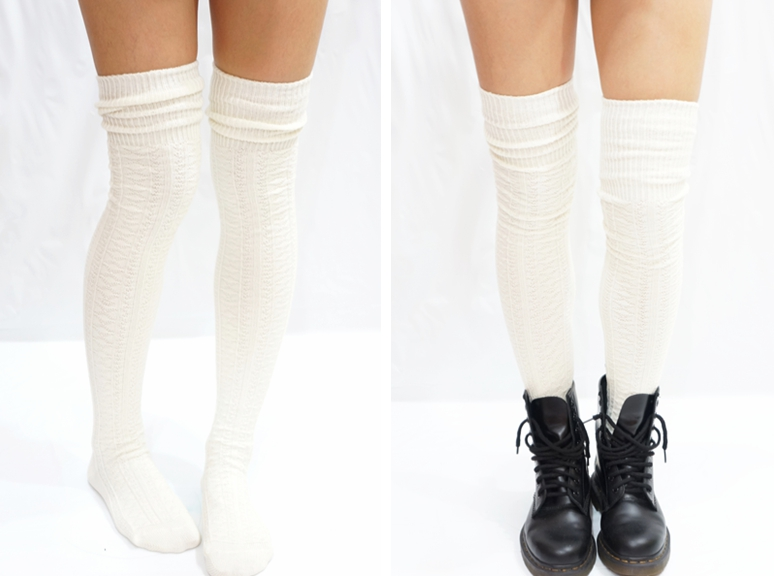 4a411fad25 Cozy Cable Knit Thigh high socks Boot socks -Creamy white ...