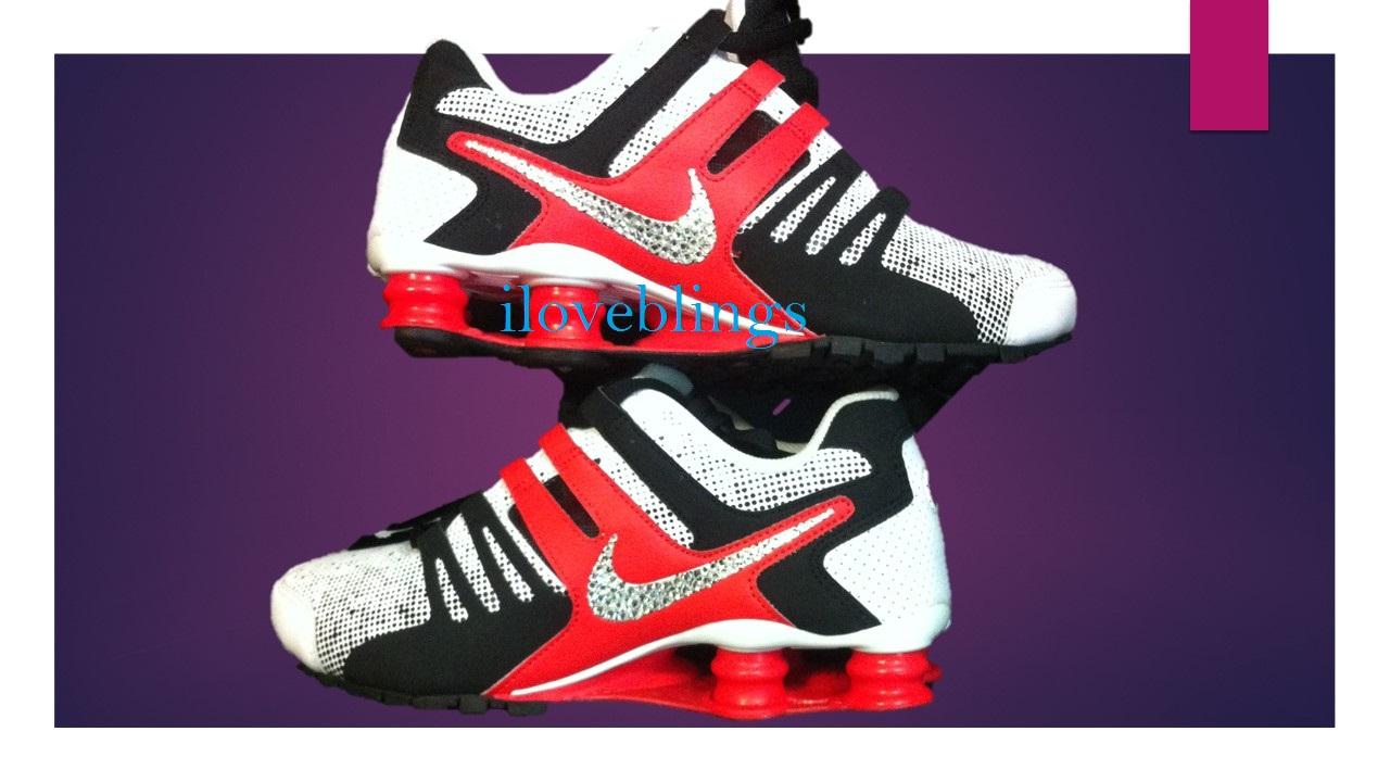ac804c6d3c045 Nike Shoes, Bling NIKE Running Shoes, Women Nike Shox, Swarovski Bling Nike  Shoes, Gifts, Running Shoes -Red/BlackWhite from Glamorousbling