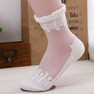 013c0302ca2 White mesh sheer see-through lace print ankle anklet socks knit gothic  lolita gyaru -
