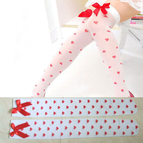 f223ecf73cf white red heart print bow sheer otk socks long over the knee stockings cult  party kei