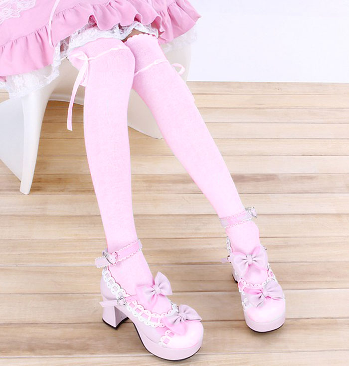 f1899e92e pastel pink ribbon threaded bow over the knee high socks kawaii stockings  OTKs sweet lolita goth