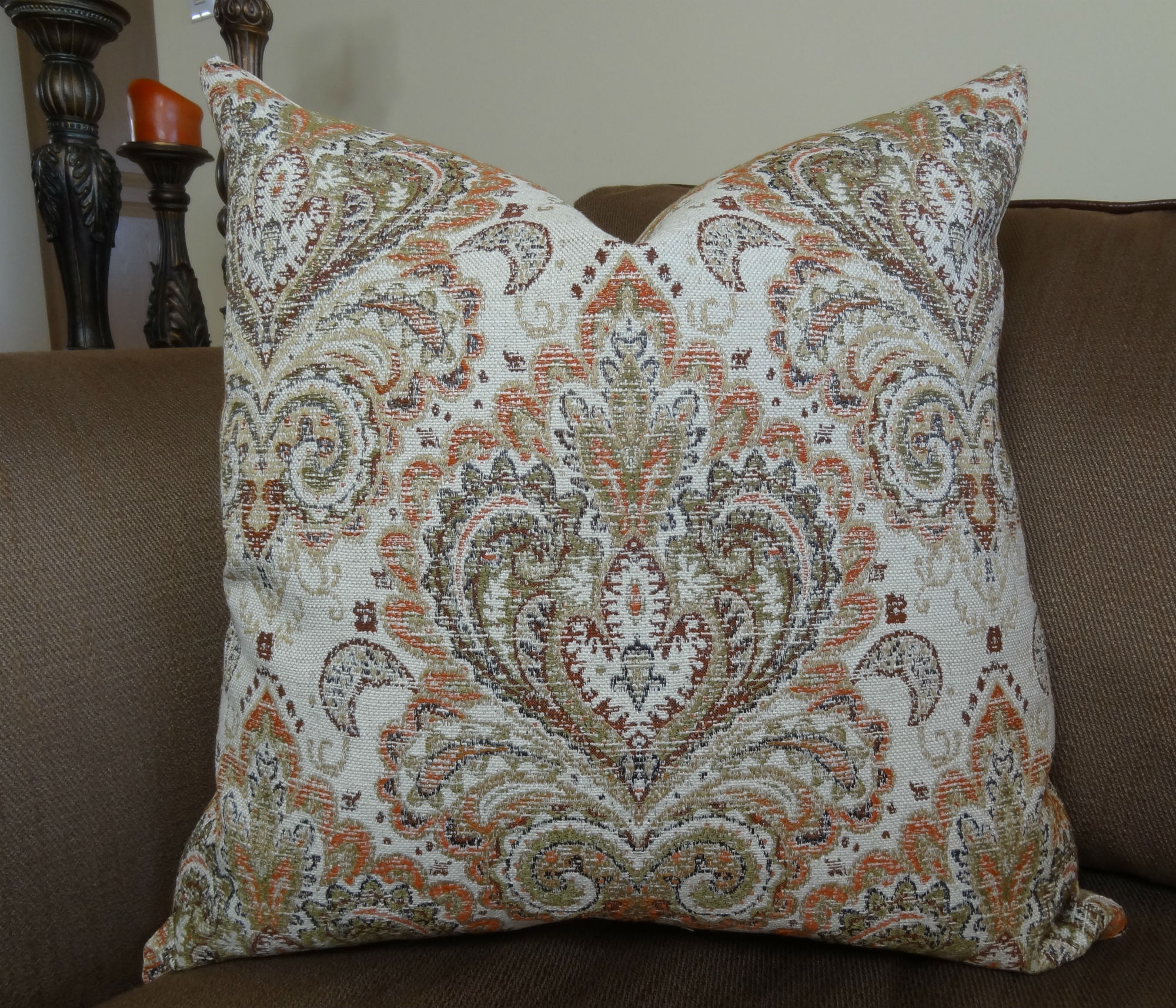 18 Quot X 18 Quot Luxury Decorative Throw Pillow Cream Tan Brown