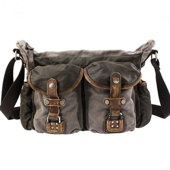 176ef124deaa Functional leather waxed canvas shoulder bags with two front pockets from  Vintage rugged canvas bags