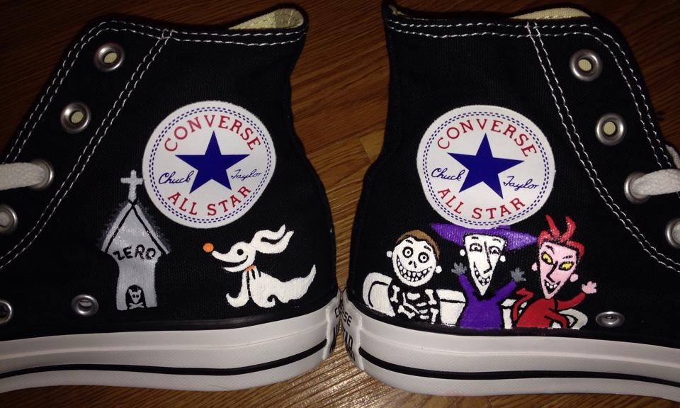 5ddfc8716d5b Nightmare Before Christmas Hand Painted High Tops on Storenvy