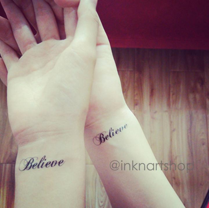 d95e9c3f0f4dc ... Temporary Quote Tattoos: 2pcs Believe Script Tattoo