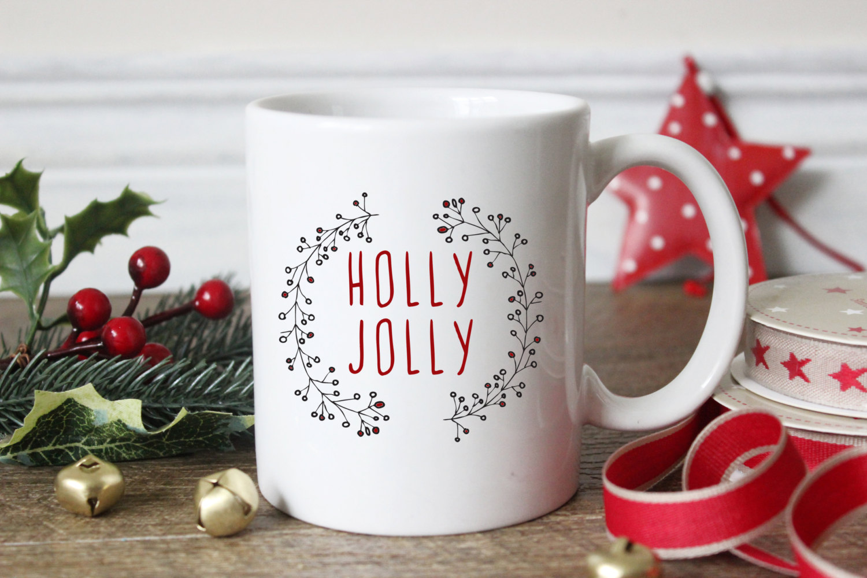 Holly Jolly Coffee Mug Christmas Coffee Cup 11 Oz Ceramic Mug Sushi Queso Designs Online Store Powered By Storenvy