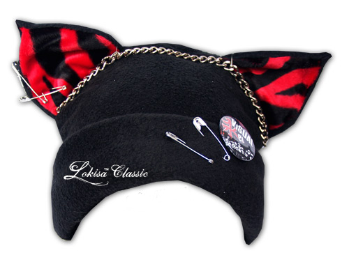 Cat Kitty Fleece Hat Anime Cosplay Punk JRock (Tiger Red Ears) from Visual  You / LOKISA