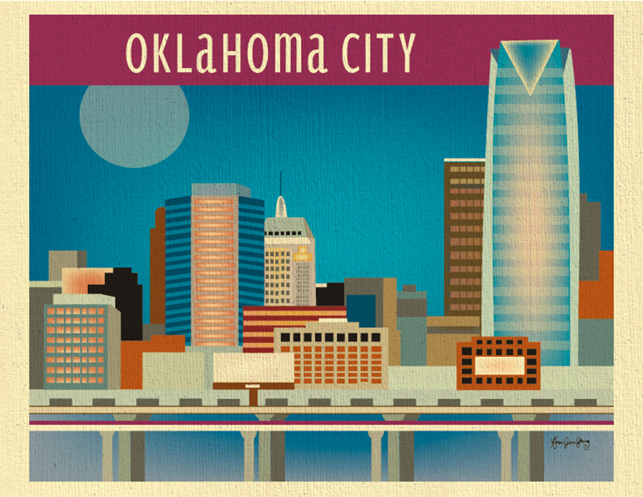 Oklahoma City Oklahoma Skyline City Wall Art 11 X 14 Print For Gifts New Home And Nursery From Loose Petals