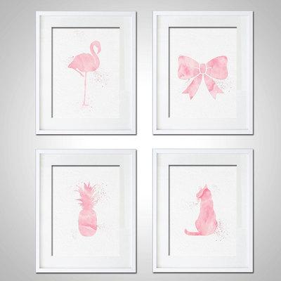 Watercolor Art Print Baby Girl Nursery Set of 4 Modern 8x10 Wall Art ...