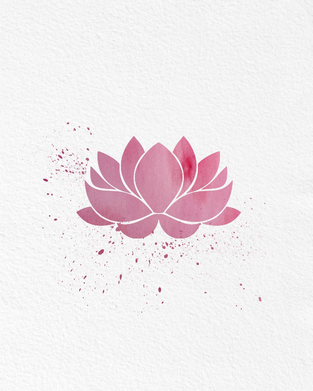 Watercolor Art Print Love Typography Lotus Flower Set Of 2 Modern