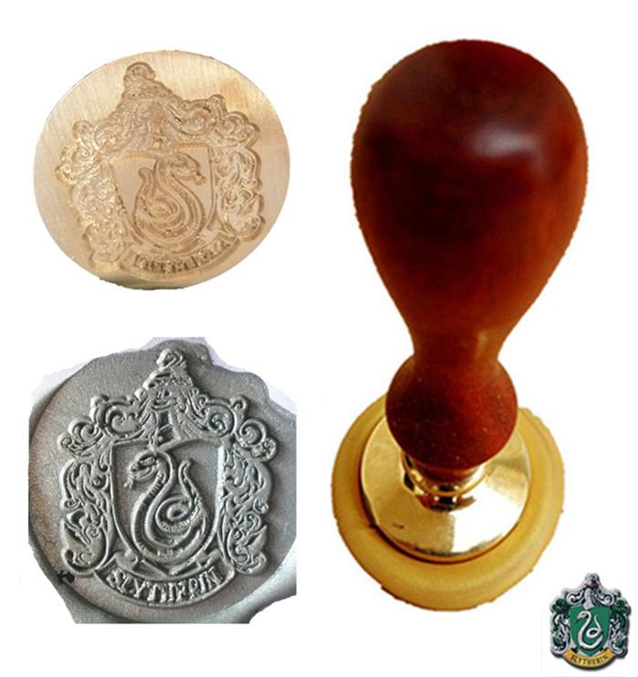 cool vintage harry potter slytherin snake school badge wax seal