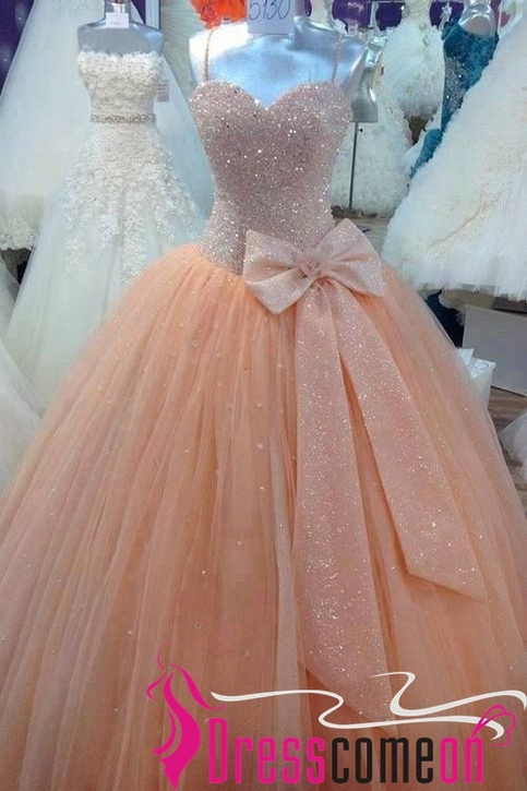 Ball Gown Spaghetti Strap Long Tulle Champagne Quinceanera