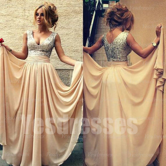 Long prom dress, v neck prom dress, sequin top prom dress, champagne ...