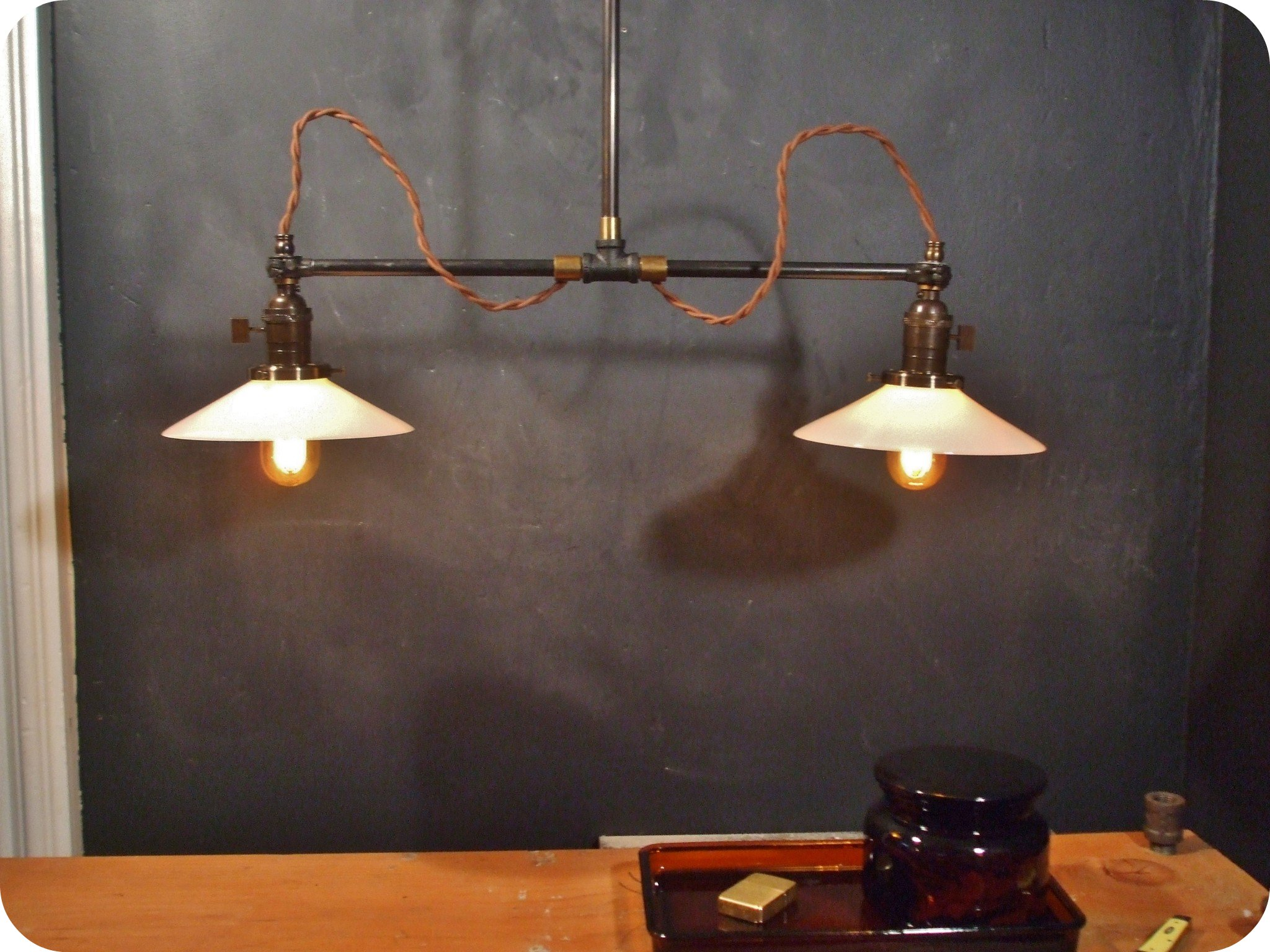 Vintage Industrial Double Shade Ceiling Sconce Machine Age Flat Shade Pendant Lamp Light