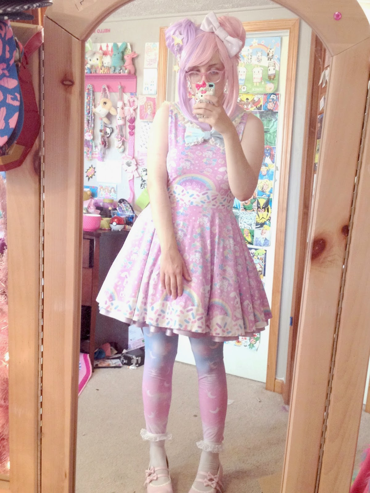 Rainbow Sweets pink Skater Dress MADE TO ORDER · Holley ...