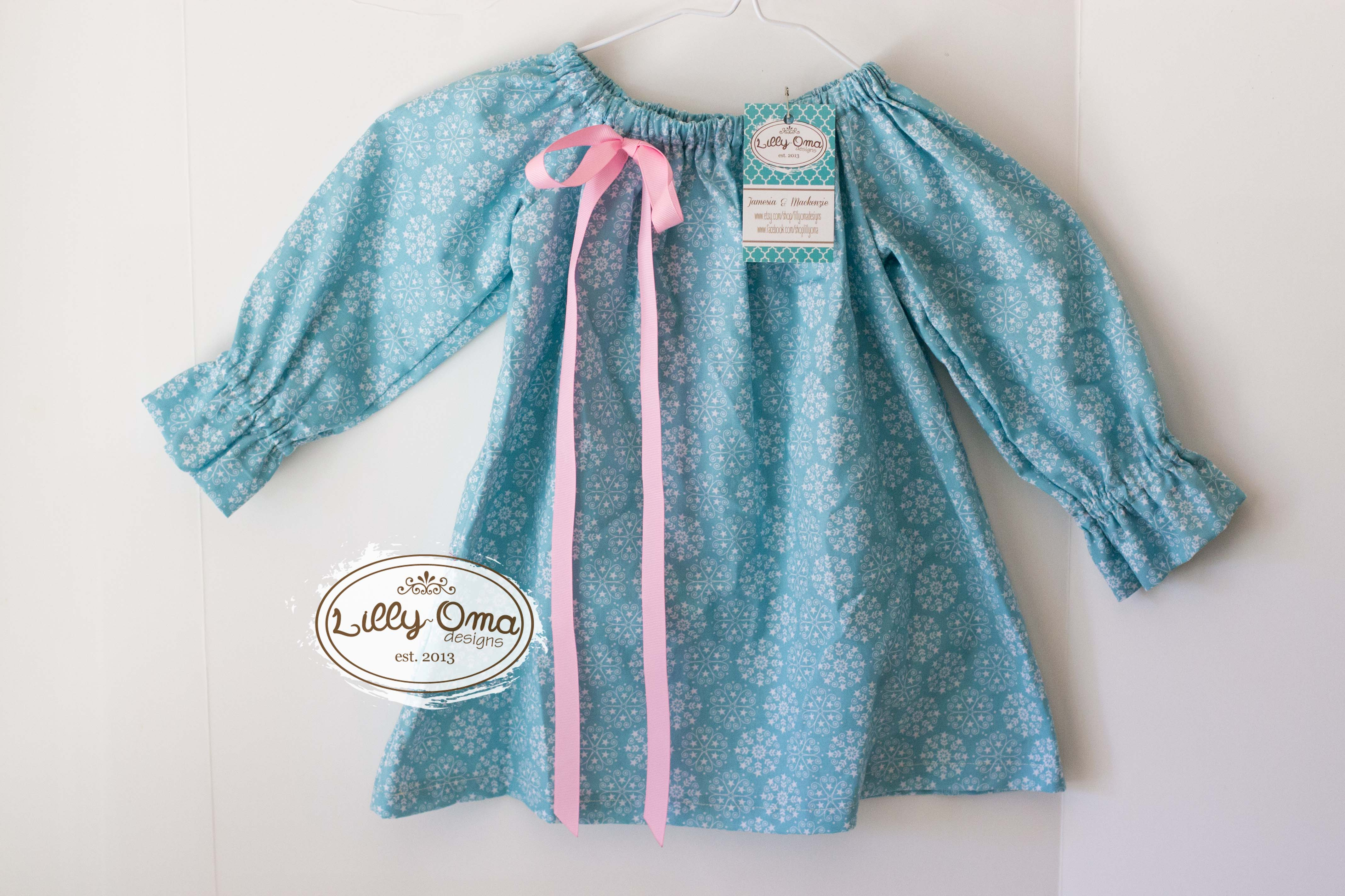 822c5f7b3 12-18m Frozen Snowflake with Pink Bow Peasant Style Long Sleeve ...