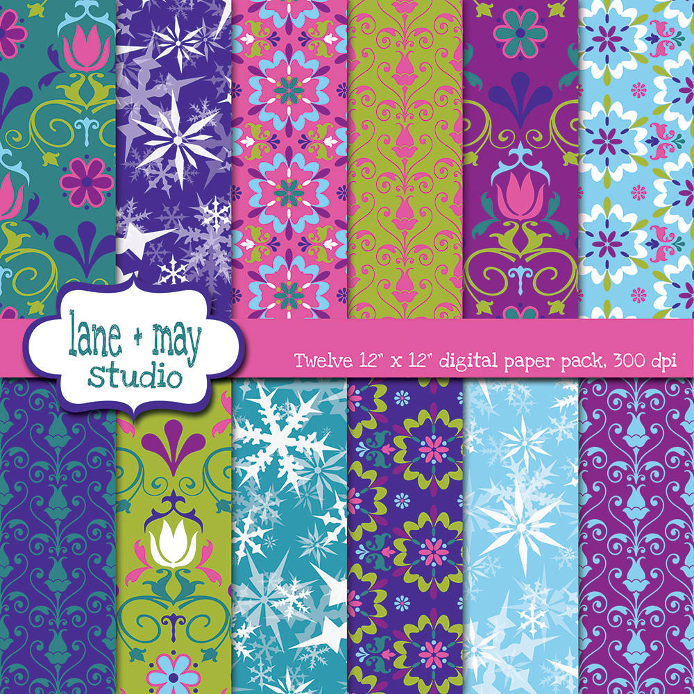 Nordic Flower And Frozen Snowflake Themed Digital Scrapbook Papers Sold By Lane May Studio On Storenvy