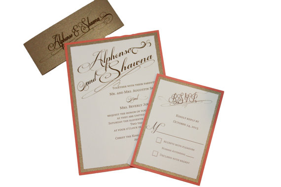 Cream And Gold Wedding Invitations: Gold, Coral And Cream Wedding Invitations On Storenvy