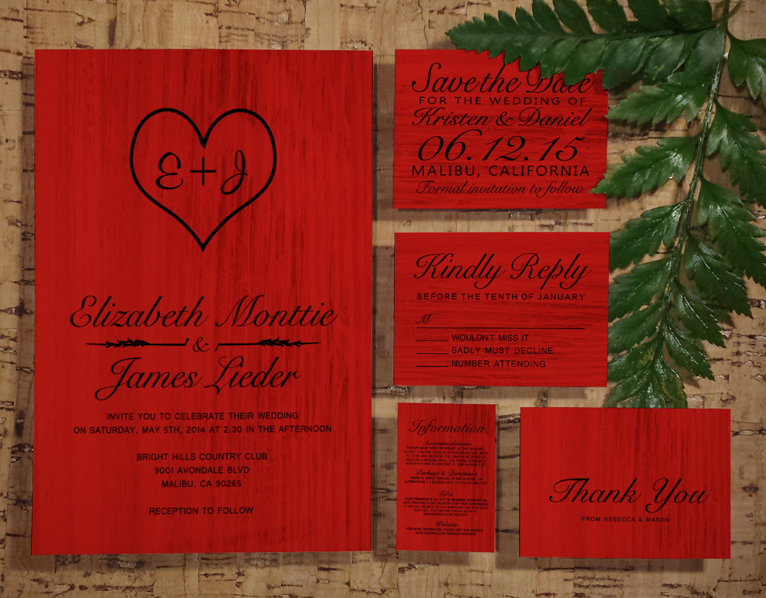 Printable Red Black Country Wedding Invitations Set/Suite, Invites ...