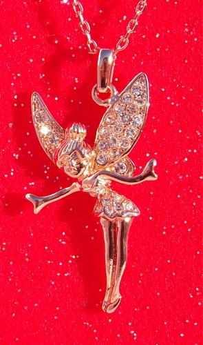 18k rose gold austrian crystal tinkerbell fairy pendant necklace 18k rose gold austrian crystal tinkerbell fairy pendant necklace aloadofball Gallery