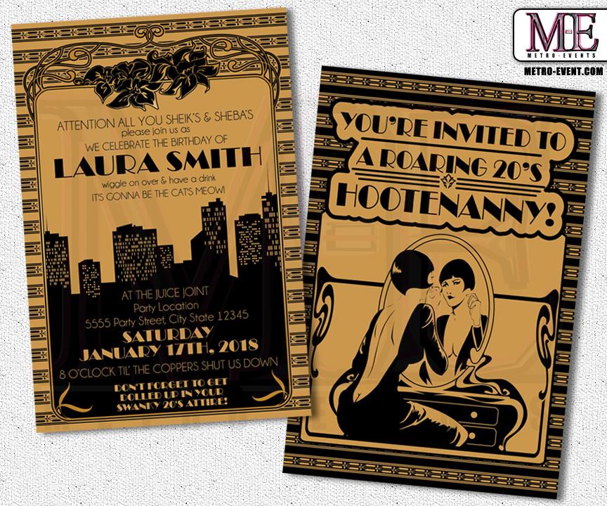 1920s Party Gatsby Invitations Art Deco Birthday Flapper Invitation