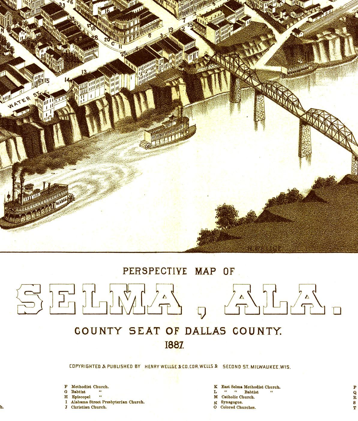 Selma, AL in 1887 - Bird\'s Eye View Map, Aerial Map, Panorama ...