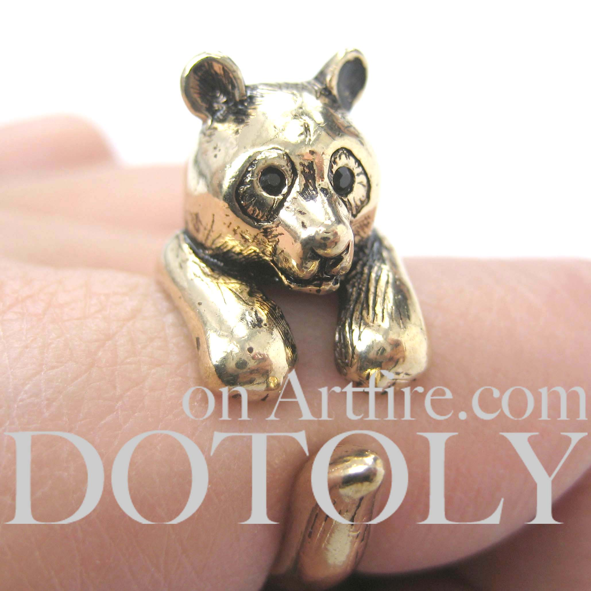 Bear In Hing Reng 2: 3D Panda Bear Animal Wrap Around Ring In Gold Size 5 To 9