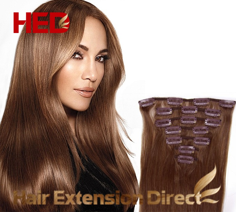 16 Medium Brown Full Head Premium Clip In Hair Extensions On Storenvy