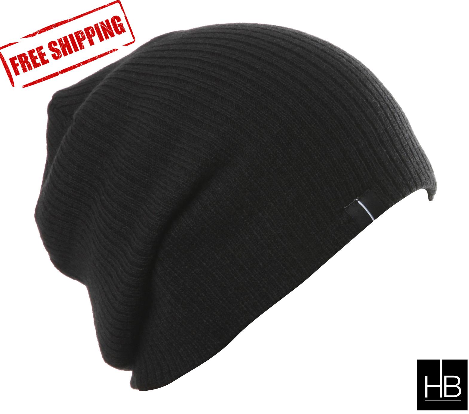 31e7eefd Slouchy Beanie Slouch Skull Hat Ski Hat Snowboard Hat Ribbed Beanie Jet  Black HB (TM)