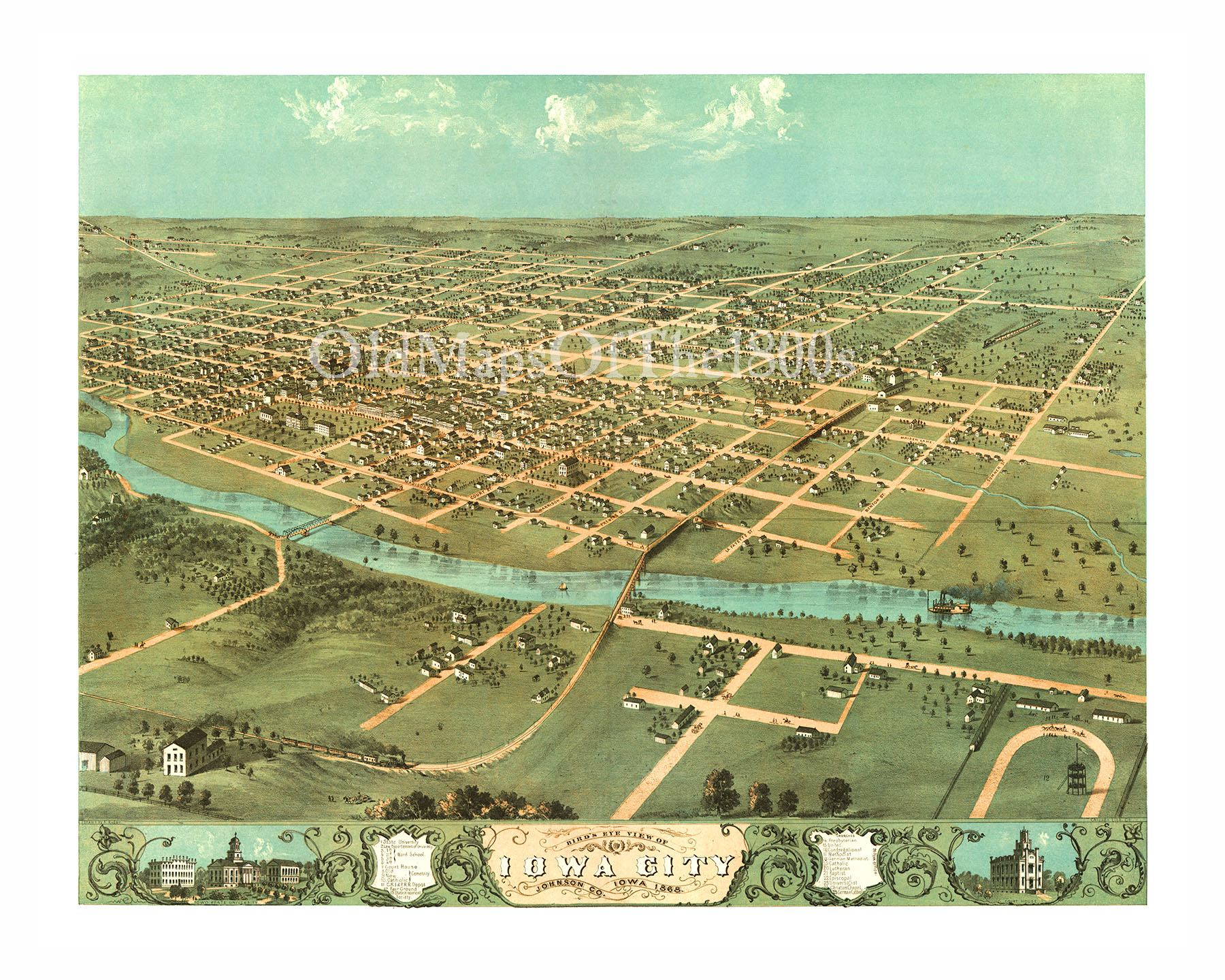 Iowa City IA In Birds Eye View Map Aerial Map Panorama - Vintage iowa map