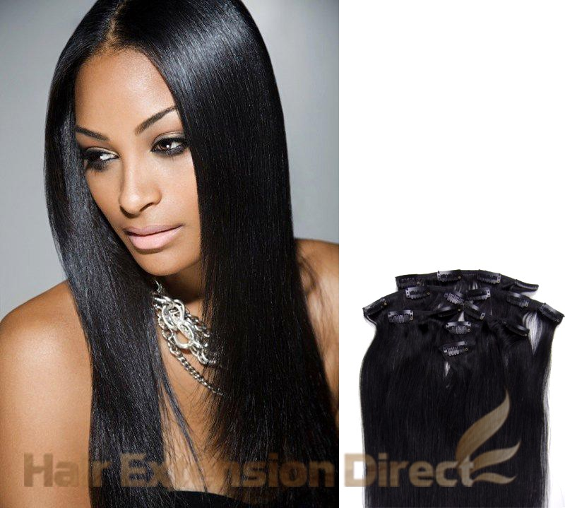 18 Jet Black Full Head Premium Clip In Hair Extensions On Storenvy