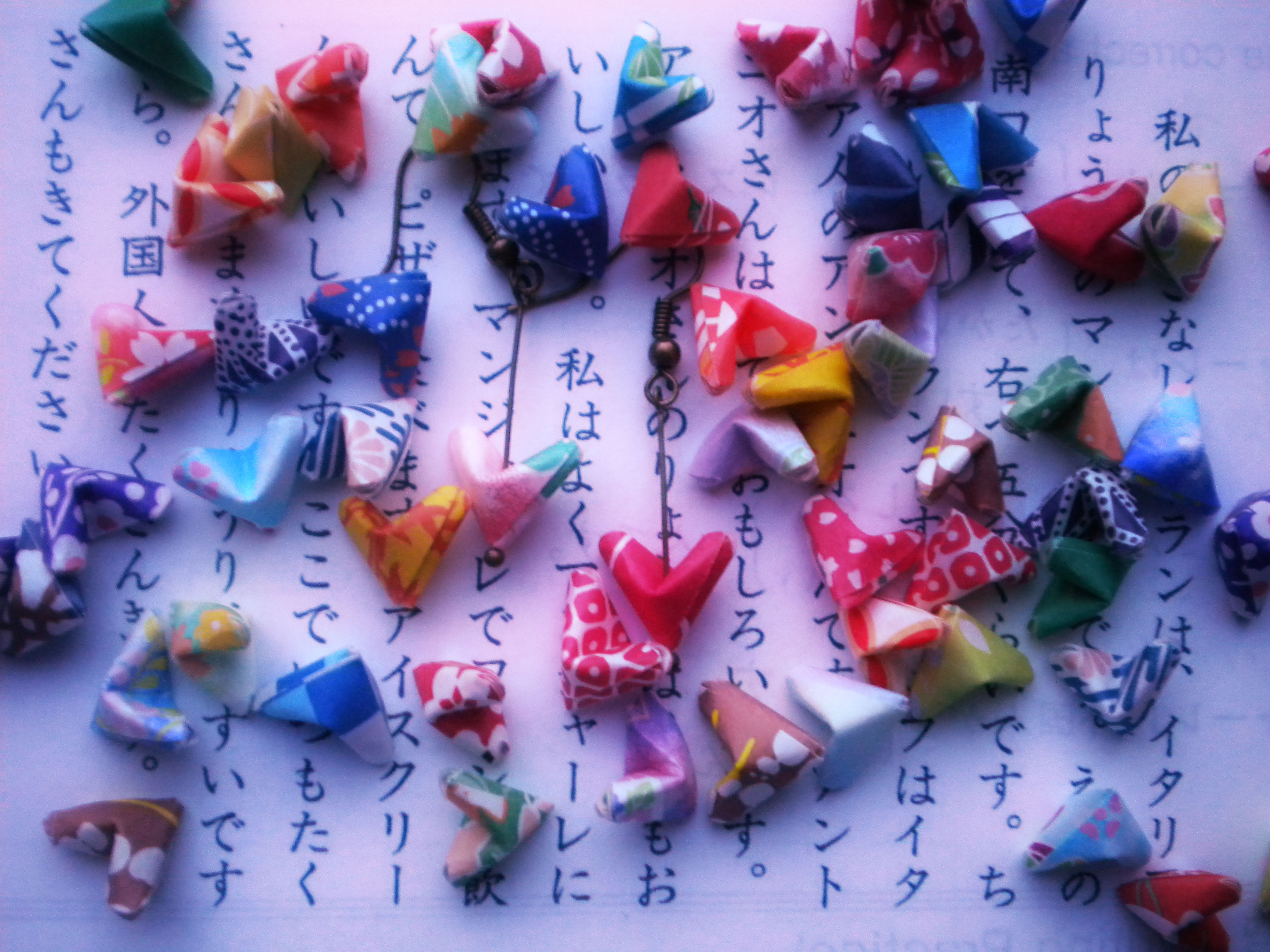 Origami Paper Hearts Earrings - Lucky Hearts - Japanese ... - photo#23