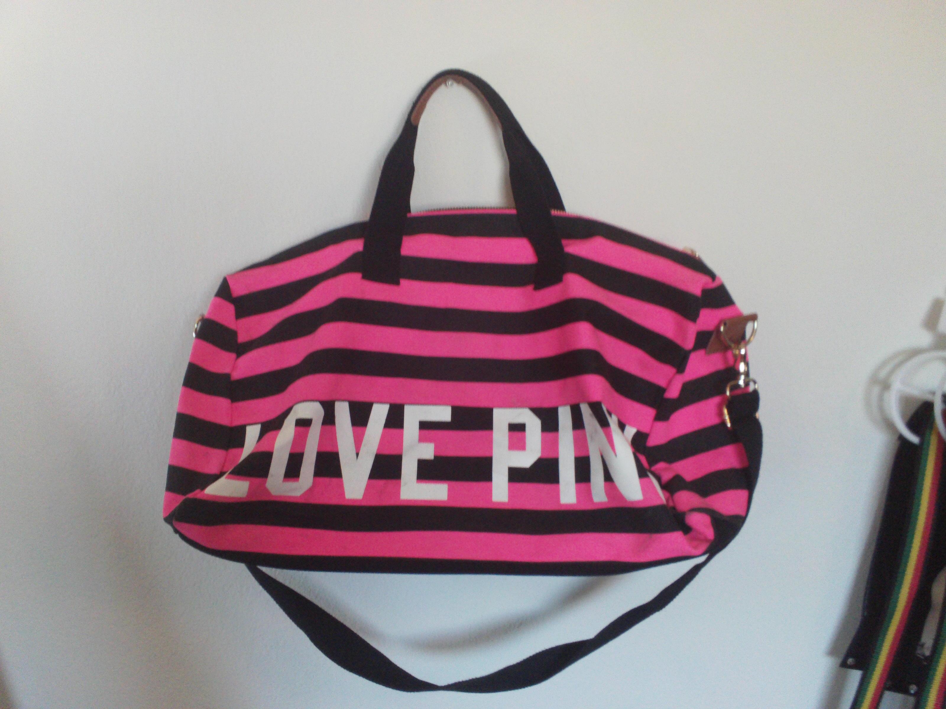 a6d4a371d842 Victoria s Secret PINK Striped Large Duffle · A Journey East ...