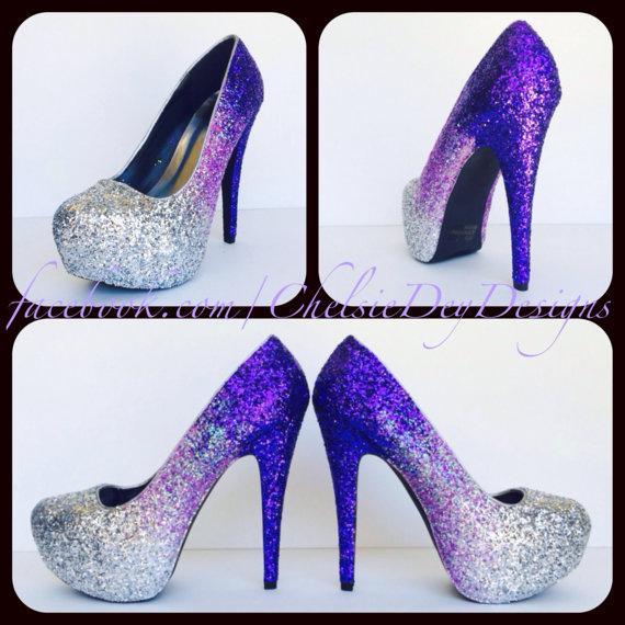 eb6fe7966c0 Purple Glitter High Heels, Lilac Lavender Ombre Platform Pumps, Sparkly  Prom Shoes