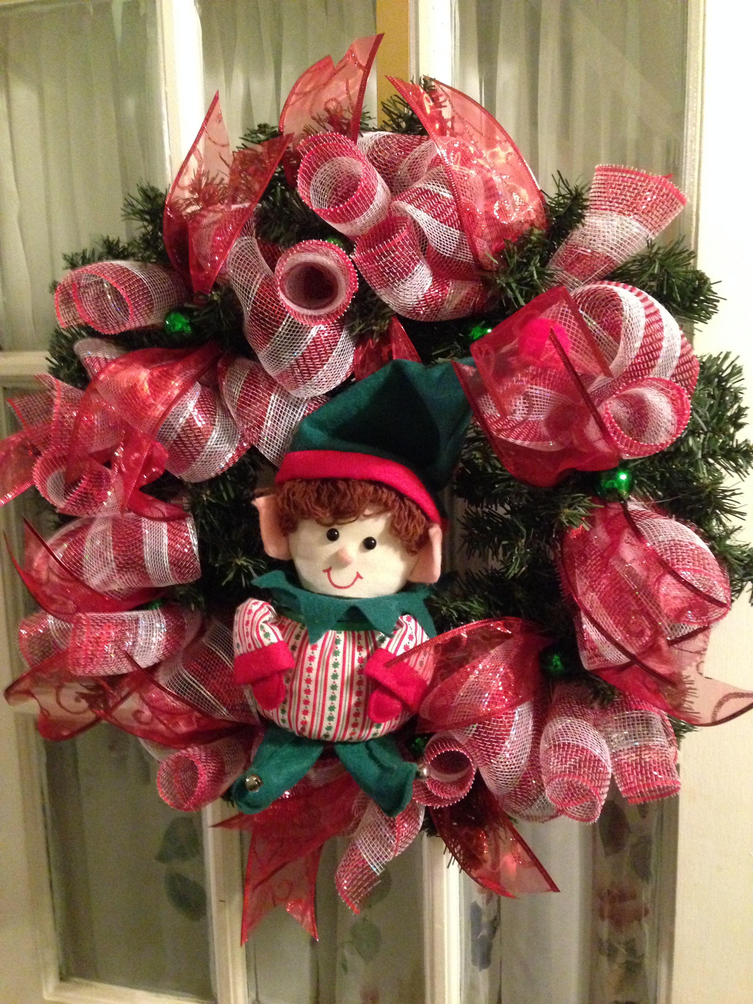 Red And White Christmas Wreath.Elf Christmas Wreath Deco Mesh Red White 24 Ribbon From Wreaths By Rosie