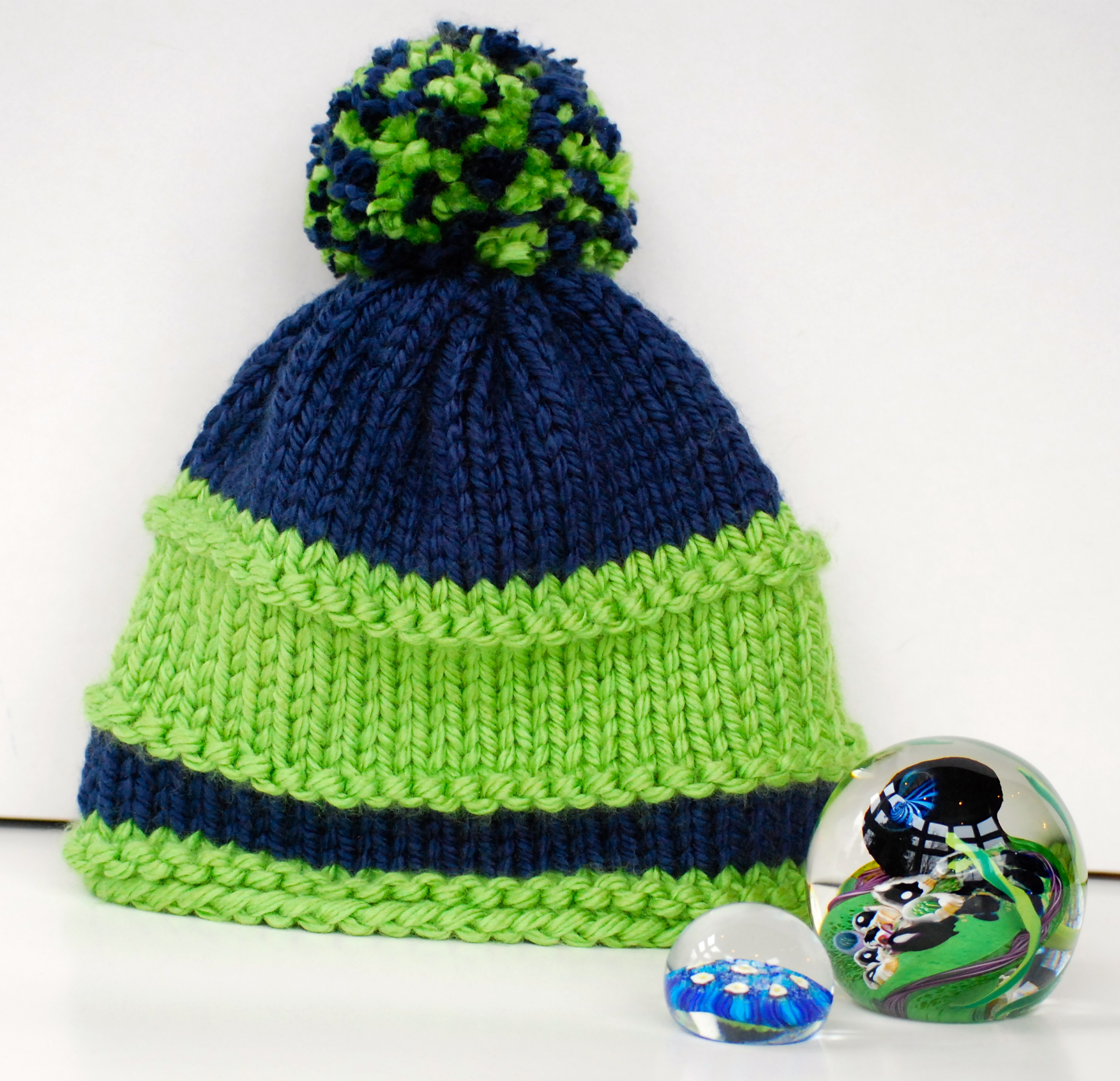 0dfb3920 Navy & Green Seattle Seahawks Beanie -12th Man Hat For Adults, Kids or  Babies - With a Pom Pom