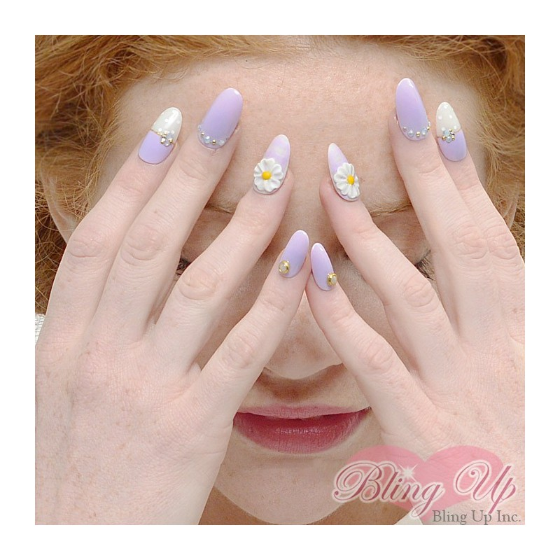 Lilac Purple Sweet Lolita 3D Nail Art with Gingham and Flowers on ...