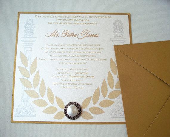 50 silver greek themed invitation square 6 x 6 grecian bridal shower invitation