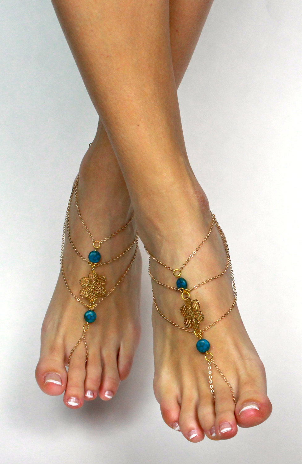 b98468533f01 GYpsy Bohemian Gold Teal Barefoot Sandals Foot Thong Foot Jewelry Bohemian  Sandals Boho Chic Sandals Anklet