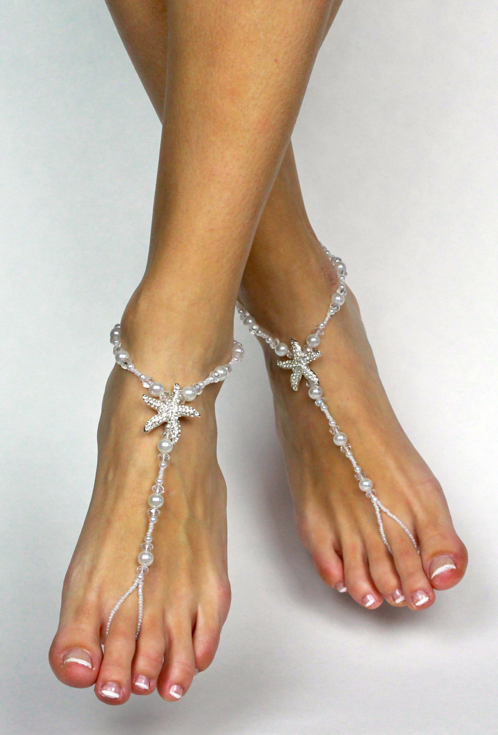 b8f5b947bac2 Starfish Barefoot Sandals for Bride Beach Wedding Barefoot Sandals Foot  Jewelry Foot Thong Bare Foot Sandals