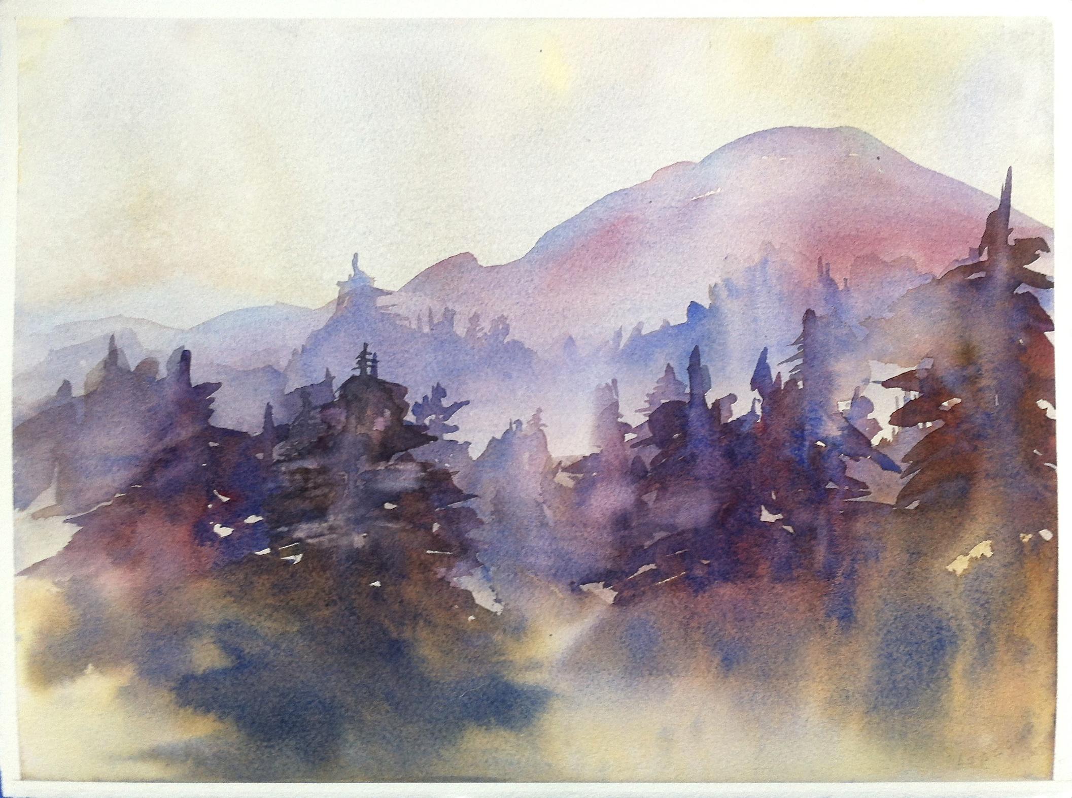 Spring Central Oregon Purple Mountain Watercolor Mid Century Original Artwork