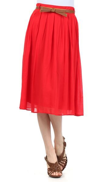 0d8ef4594c Pleated Midi Skirt with Bow Belt- Berry or Red   Belle of the ...