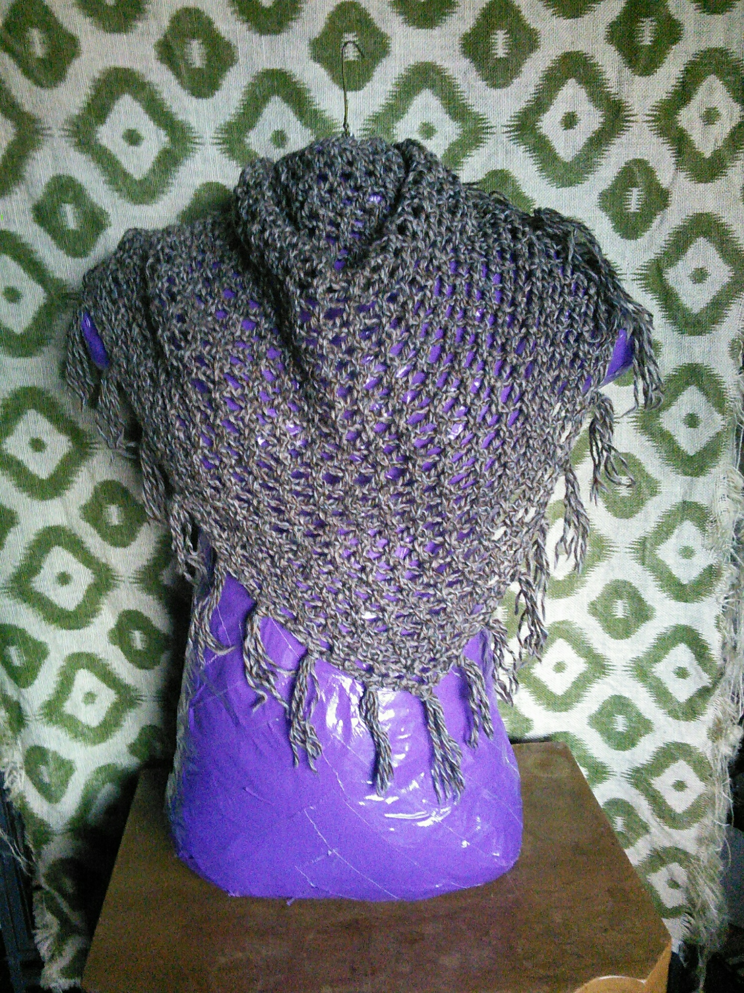 Handmade Knit Knitted Lace Mesh Triangle Scarf Shawl