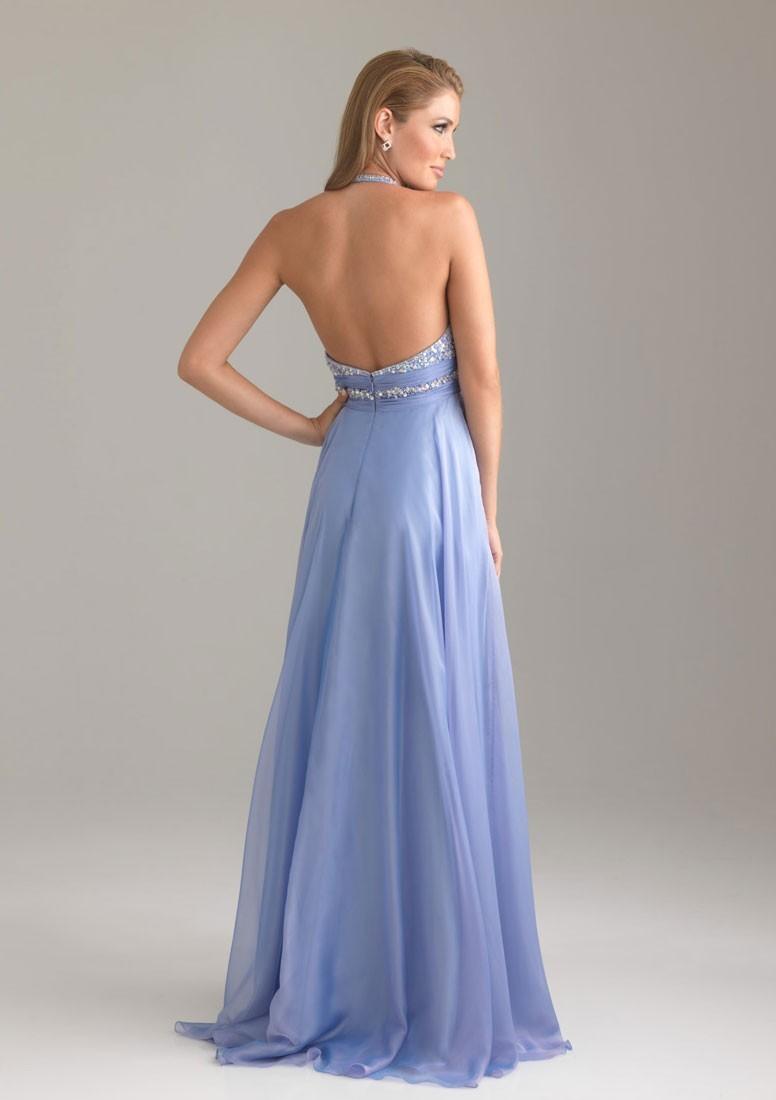6a25ae4dddf A-line Floor-Length Halter Backless Sleeveless Beading Chiffon Prom ...