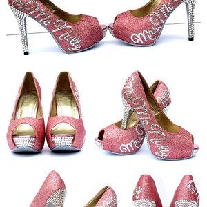 03c842f14 Bridal Heels Personalized Peep toe Heels with Swarovski Crystals on Glitter  Platforms