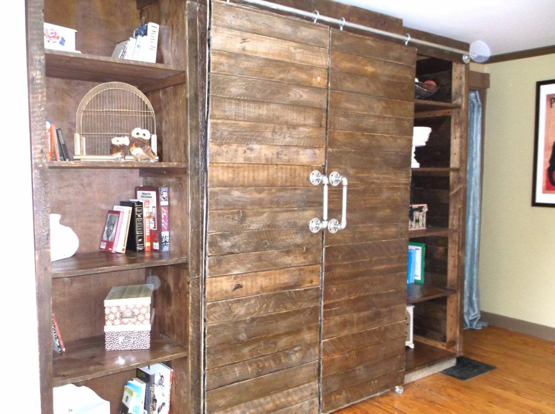 Rustic Barnwood Media Center With Sliding Barn Doors On
