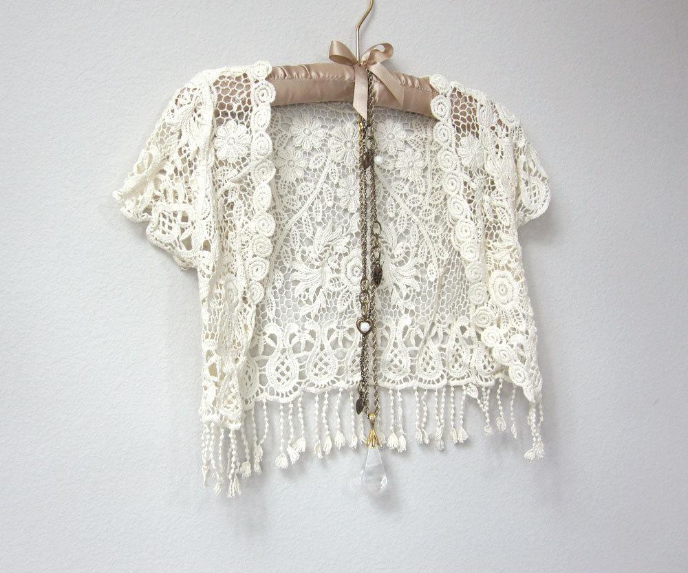 bbc40c6c56182 Beautiful Ivory White Crochet Short Sleeve Capelet, Cover Up Jacket, Vest  with Fringe, ...