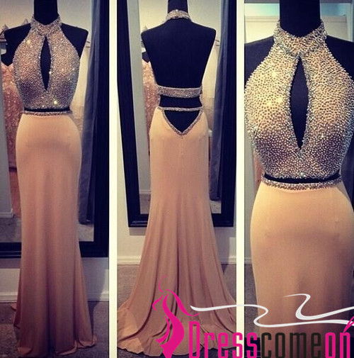 Two Pieces Prom Dress Spring 2016 New Style Open Backs High Neck Chiffon  Skirt Beaded Bodice c3b37ad06