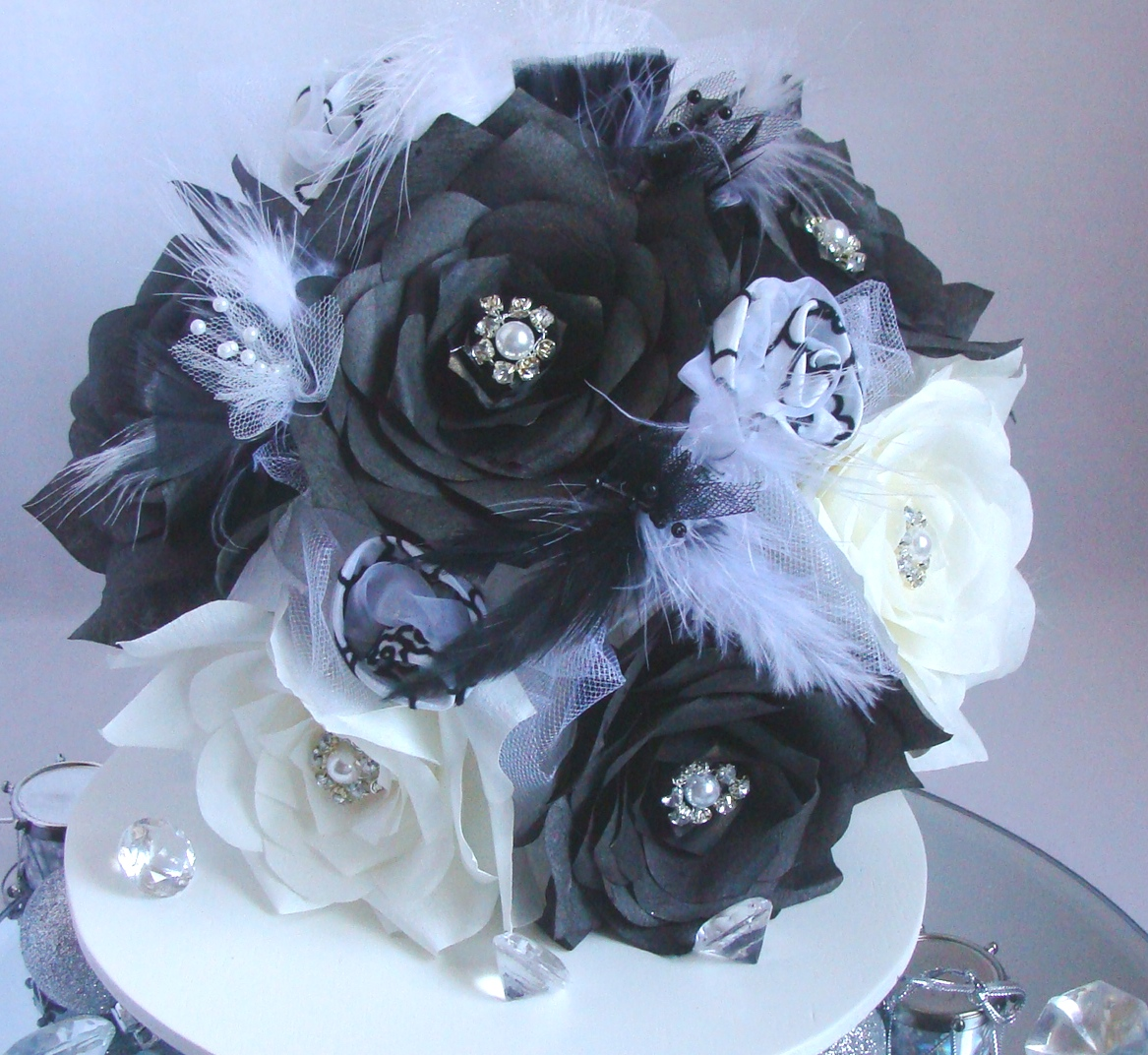 white bridal bouquet, black wedding bouquet, paper flower